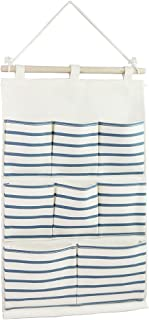 Tandi Linen/Cotton Fabric Wall Door Closet Hanging Storage Bag Case 8 Pockets Home Organizer Blue Strips