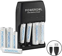 POWEROWL AA AAA Pilas Recargable Cargador Ni-MH Ni-CD con Luces LED, Paquete con 4 Pilas AA 2100mAh y 4 Pilas Recargables AAA 1000mAh (Incluido el Cable Mirco)