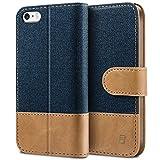 BEZ Hülle für iPhone SE Hülle, Handyhülle Kompatibel für iPhone SE 5 5S Hülle, Handytasche Schutzhülle Tasche [Stoff & PU Leder] mit Kreditkartenhaltern - Blau Marine