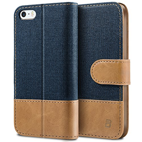 BEZ Hülle für iPhone SE Hülle, Handyhülle Kompatibel für iPhone SE 5 5S Hülle, Handytasche Schutzhülle Tasche [Stoff und PU Leder] mit Kreditkartenhaltern - Blau Marine