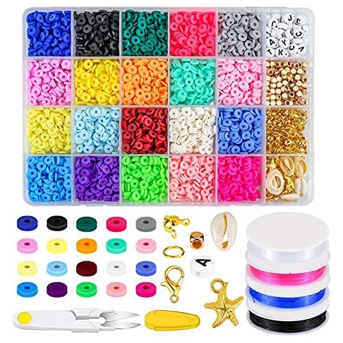 QASIMOF Cuentas de cerámica suaves cuentas de arcilla en caja de discos de color bohemio, accesorio hecho a mano para niña (multicolor, 13 x 19 cm)