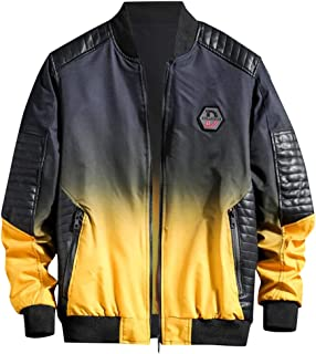 wuliLINL Mens Retro Faux Leather Jacket,Winter Warm Casual Windproof Motrocycling Solid Thicken Coat Outwear