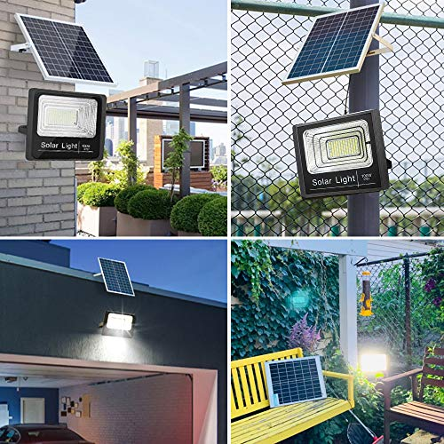 100W Led Solar Flood Light, Outdoor Dusk to Dawn Solar Security Light with Remote, 180 LEDs 5100 LM High Bright, IP67 Waterproof Solar Chargeable Light for Yard, Garden, Pathway, Arena, Ball Court
