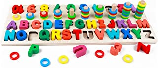 Wooden Blocks Puzzle Board Set Alphabet ABC, Learning & Educational Toys for Number Counting, Colours Stacking, Shape Sort...