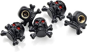 MYOSPARK 5Pcs Black Crossbones Skull Head Wheel Tire Tyre Air Valve Stem Cap Dust Cover for Universal Car Truck Motorcycle Bike