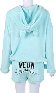 FidgetGear 2PCS/Set Women Fashion Pyjamas Warm Cute Animal Casual Sleepwear Sky Blue XXL