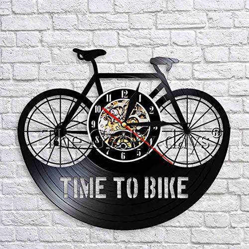 WTACK Zeit Zum Fahrrad Wanduhr Retro Vinyl Uhr Schwarz Hängende Wanduhr Fahrrad Schatten Kunst Dekorative 3D Wanduhren Dekor 12 Zoll