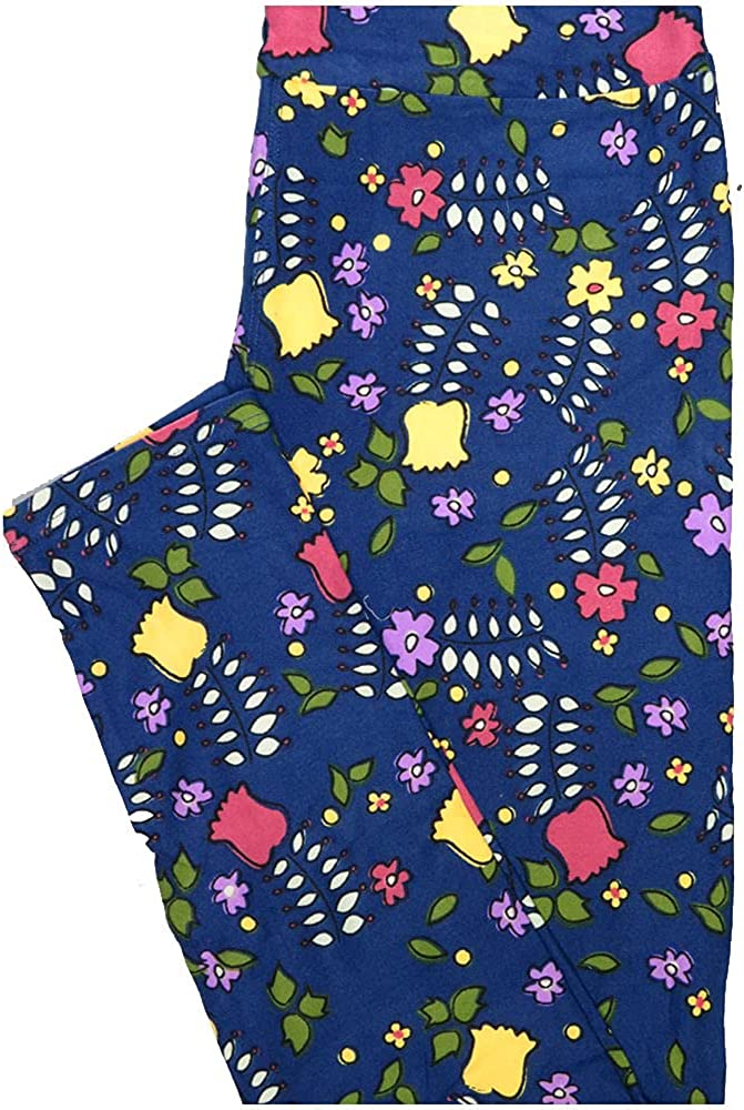 Lularoe One Size OS Blue Yellow Lavender White Floral Leggings (OS fits Adults 2-10)
