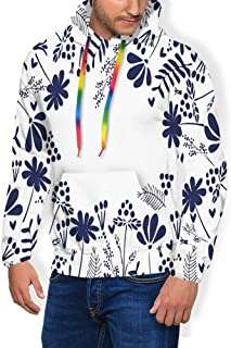 GULTMEE Men's Hoodies Sweatershirt, Botanical Beauty Flower Branches Ferns Leaves Bushes Spring Themed Illustration,5 Size