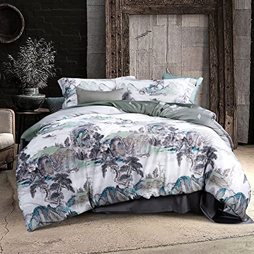 MILDLY Duvet Cover Queen Ultra Soft & Breathable, 100% Egyptian Cotton Traditional Chinese Paint Mountain Scenery Luxury Duvet Cover with 2 Pillow Shams