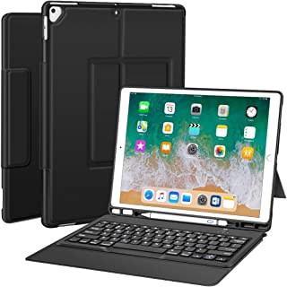 """Sounwill ipad pro 12.9 Case with Keyboard Compatible for ipad pro 12.9"""" 2015/2017, Ultra-Thin PU Leather Silicon Rugged Shock Keyboard Stand Case with Pencil Holder (Not Fit for 2018 New ipad)-Black"""