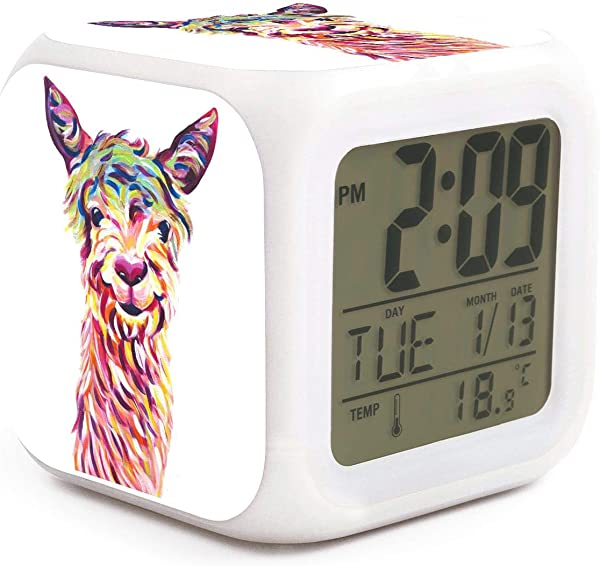 Hotqq Colorful Llama Alpaca Head Art Funny 7 LED Color Change Digital Thermometer Alarm Clock With LCD Display Cube Night Light For Kids