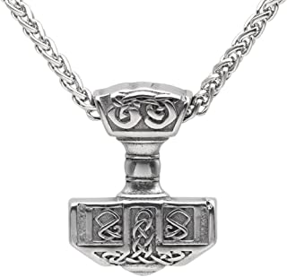 Norsesprit Men 316L Stainless Steel Norse Viking Thor's Hammer MJOLNIR Pendant Necklace