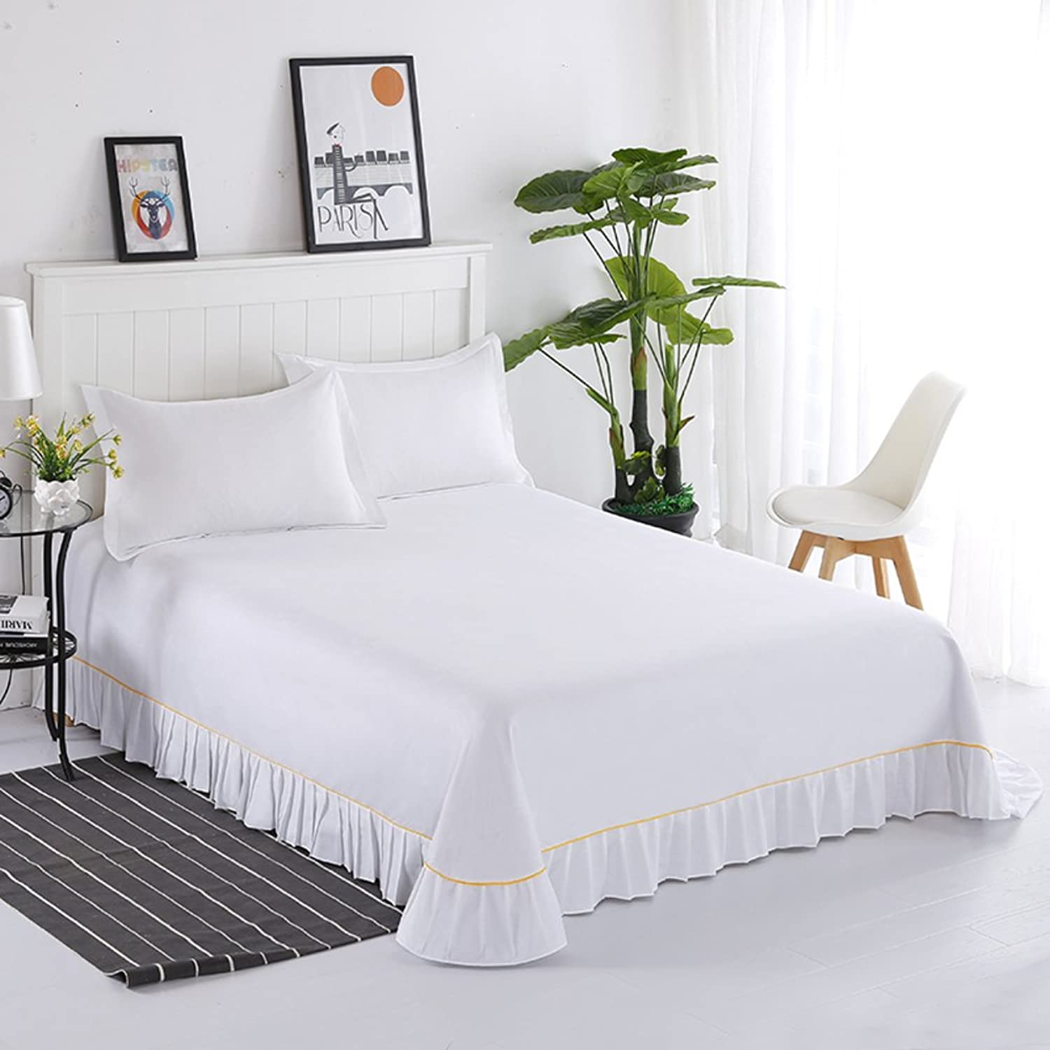 Full Cotton Flat Sheet, Top Sheets Ruffled Simple Princess Wind Stain Resistant Hypoallergenic Solid color Bed Sheet-White W200xH250cm(79x98inch)