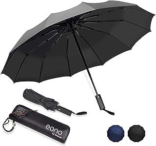 [Amazonブランド] Eono(イオーノ) 折りたたみ傘 自動開閉 頑丈な12本骨 メンズ 台風対応 梅雨対策 大きい 超撥水 おりたたみ傘 高強度グラスファイバー ビッグサイズ 晴雨兼用 収納ポーチ付き