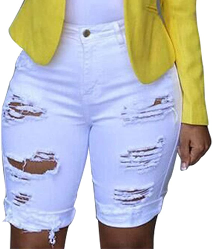 Women's Cut Off Denim Shorts High Waist Ripped Hole Jeans Washed Frayed Distressed Hot Shorts Summer Comfy Stretchy