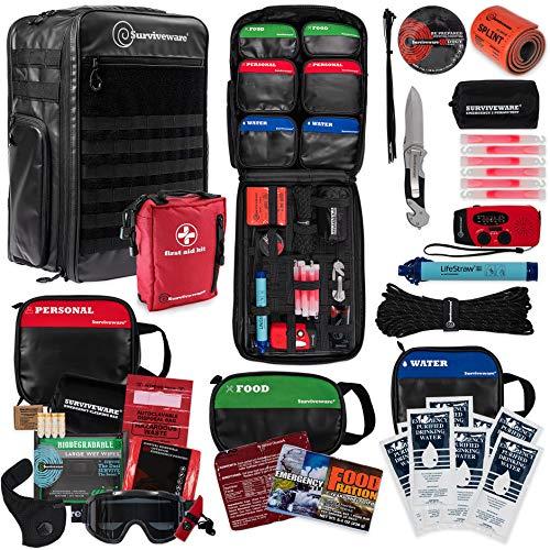 Surviveware 72-Hour Emergency Preparedness Survival Backpack, Stocked for 2 People, Black