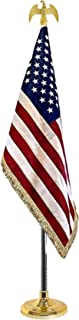 IrisUSA 8 FT Presidential Formal Indoor US Flag for office, School, and Auditorium with Pole Stand & Eagle Ornament