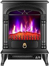 YLJYJ Modelo de Calentador de Fuego de Estufa eléctrica El Efecto de Llama Realista y los Registros Reales contienen 1000W 2000W Blanco