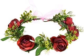 A Miaow Bridal Camellia Flower Headband Greenery Succulent Floral Crown Wreath Headpiece Maternity Photograph (Burgundy)