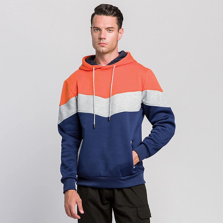 Aayomet Hoodies for Men Pullover Color Block Patchwork Sport Mens Hoodies Front Pockets Slim Shirts