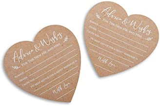 Kate Aspen 28443NA Wedding Advice Card - Heart Shape (Set of 50) Party Game, kraft, white