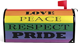 Wamika Love Peace Respect Mailbox Cover LGBT Rainbow Flag Mailbox Covers Magnetic Gay Pride Accessories Mailbox Wraps Post Letter Box Cover Garden Decor Standard Size 18