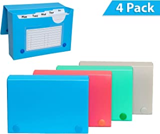 Index Card Case, 3x5 Inch Index Card Holder, Fits Up to 100 Cards Per Case - with 5 Dividers and Adhesive Label Tabs - 4-Pack - Storing Recipe Cards, School Index Cards & More (4 Colors)