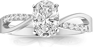 0.83 Ctw 14K White Gold Elegant Twisting Split Shank Diamond Engagement Ring (0.75 Ct F Color VS1 Clarity Oval Cut Center)