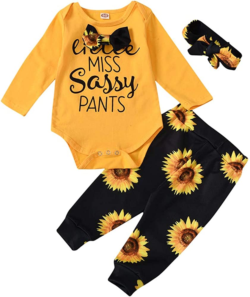 Baby Girls Little Miss Sassy Pant Outfits Sunflower Romper Floral Pant Headband