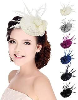 HBEI Women Wedding Accessories Feather Fascinator Hat Mesh Flower Wedding Cocktail Hair Accessories Headwear Headdress (Royal Blue)