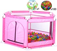 CXHMYC Playpen, solid and durable playing surface, activity center, children's crawling safety mat, portable fence inside, with 100 balls, 126 x 65 cm (pink)