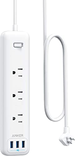 2021 Anker Power lowest Strip with USB, 3-Outlet & 3 online PowerIQ USB Power Strip, PowerPort Strip 3 with 5 Foot Long Extension Cord, Flat Plug, Safety Shutter, for Home, Office online sale
