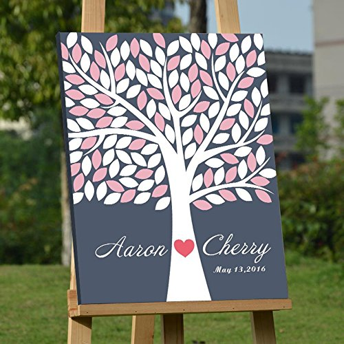 Custom Wedding Guest Book Alternative Art Canvas Print Signature Family Tree Personalized Wedding Gifts 120 Leaves for Soliciting Signatures 16x20 inch Wedding Guestbook Poster Pink and White