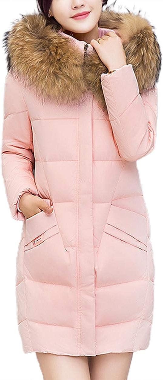 chouyatou Women's Classic Designed Midi Long Quilted Winter Coat Faux Fur Hood