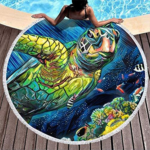 WellWellWell Toalla de playa extragrande con diseño de tortuga marina y océano, color blanco, 150 cm