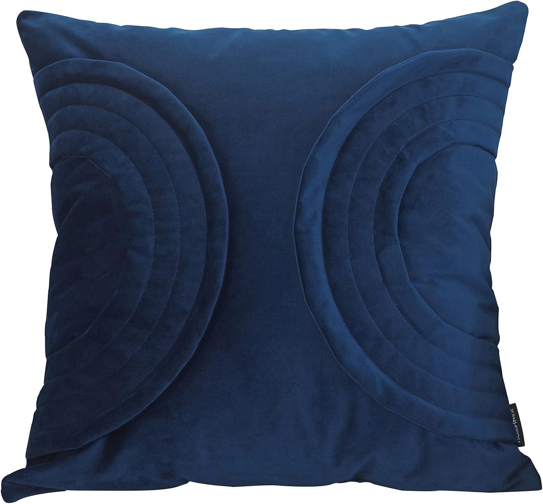 HOMFINER Velvet Decorative Throw Pillow 1 year warranty Cover Blue Colorado Springs Mall 18 x Navy