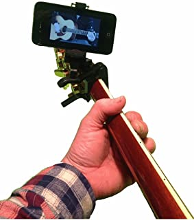 Smartphone Guitar Capo | Android and iPhone Compatible Dock Headstock Neck Clamp | I-Po Cell Phone Holder Aid Musicians | Electric or Acoustic Guitars