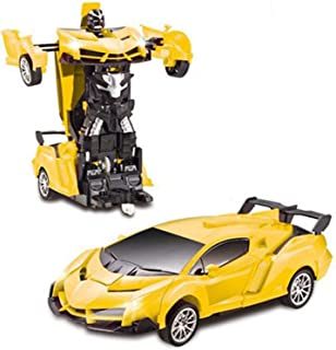 Remote Control Yellow Shape-Shifting Action Figure Robot Toy Car with Hand Wave Transformation
