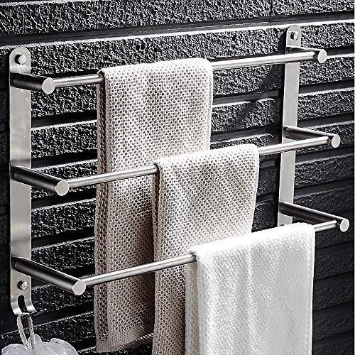 L.W.S Bathroom Rack Baño Punzonado Gratis 304 Baño de Acero Inoxidable Baño Toalla de Tres Capas Toalla de Tres Capas Múltiples Capas Colgante Cadena Creativa Baño Toalla Bar Multi-Capa Moderno Acero