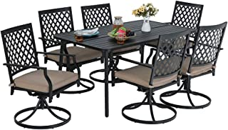 MF STUDIO 7-Piece Metal Outdoor Patio Dining Bistro Set with 6 Swivel Armrest Chairs and Steel Frame Slat Larger Rectangular Table, 59