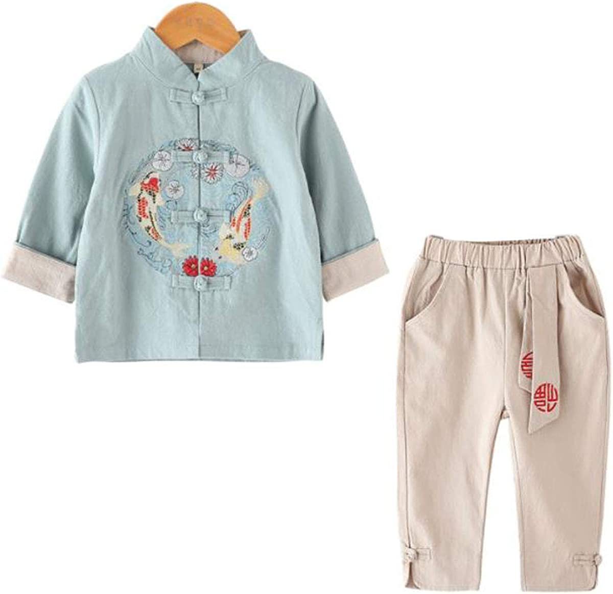 WenWen Toddler Little Boy's Fish Embroided Chinese Tang Suit Shirt and Pants Set (mintbeige,Height 47.2