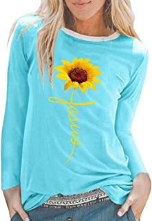 LENXH Women's T-Shirt Fashion Printed Blouse Wild Pullover Long-Sleeved Shirt Solid Color Sweater