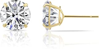 14k Yellow Gold Solitaire Round Cubic Zirconia Stud Earrings with Silicone Pushbacks