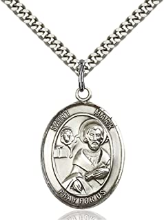 St. Mark The Evangelist Hand-Crafted Oval Medal Pendant in Sterling Silver