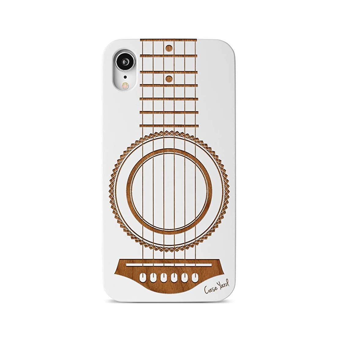 iPhone XR Case, CaseYard Slim-Fit, Hybrid, Lightweight, Fashionable iPhoneXR Wood Case, Made in California (iPhone XR) (White) Guitar