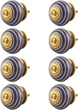 Indian-Shelf Handmade Ceramic Swirls Door Knobs Stripe Cupboard Pulls Dresser Handles(Purple, 1.50 Inches)-Pack of 8