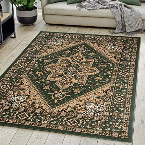 Carpeto Rugs Teppich Orientalisch Grün Klassisch Muster Kurzflor Öko-Tex Wohnzimmer 140 x 200 cm
