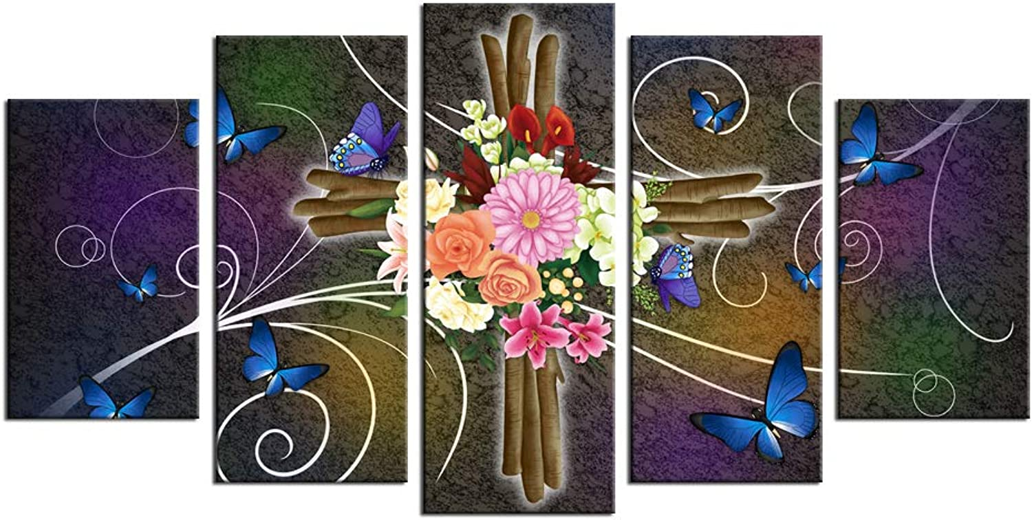 Sechars - 5 Pieces Canvas Wall Art Large Christian Cross with Flowers Butterflies Painting Wall Decor Vintage Cross Giclee Artwork Gallery Canvas Wrap for Living Room Home Decoration