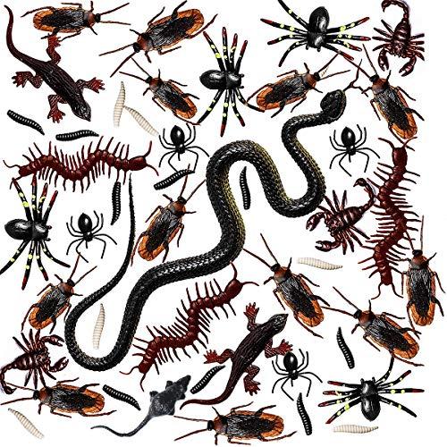 Neusky 160 Stücke Pflastik-Tierchen, Spinnen, Maden und Fliegen für Halloween, Karneval, Fastnacht, Fasching oder Thema Festival, Party und Dekoration (Halloween, 160Stück)